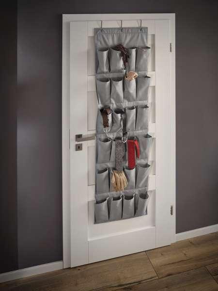 Leifheit Organizer grau, Hängeregal Aufbewahrung mit 24 Taschen 46 x 5 x 162cm