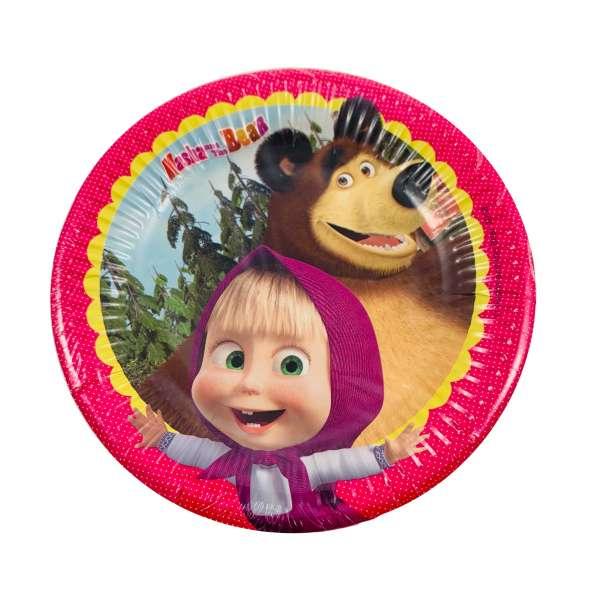 8 Pappteller Masha und der Bär für eine tolle Kinderparty