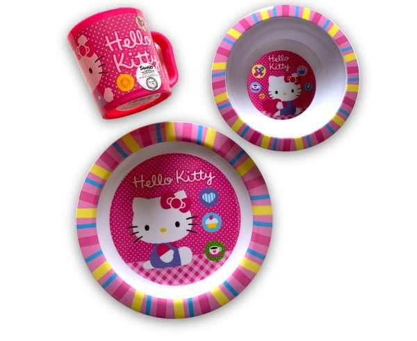 Hello Kitty 3 teiliges Frühstücks Set Geschirr Set Teller Schüssel Tasse
