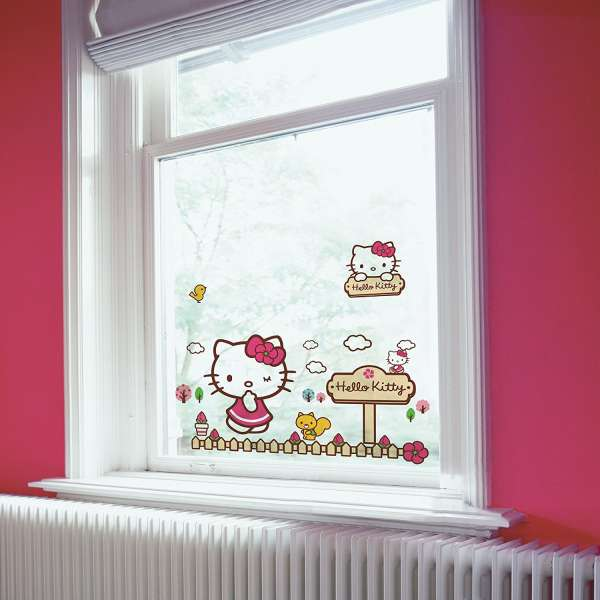 Hello Kitty Fenstersticker, Dekoration Kinderzimmer, Fensteraufkleber