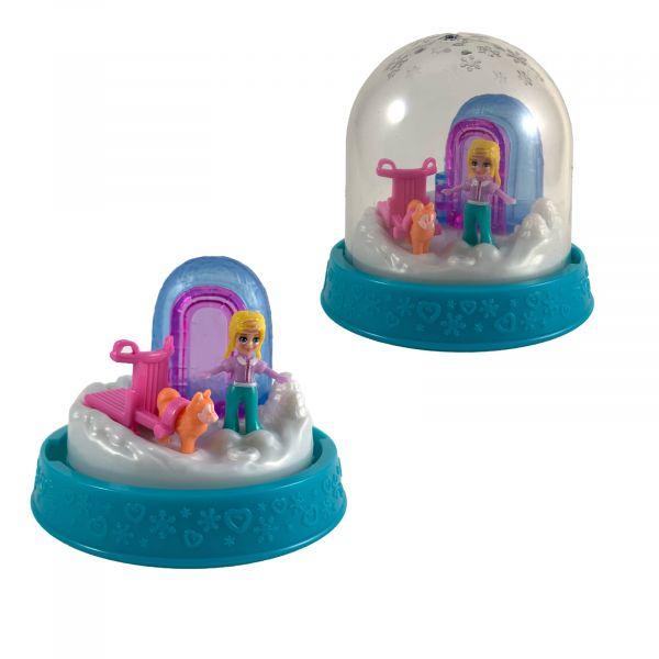 Polly-Pocket Mattel Mini - Kugel Polly mit Hundeschlitten