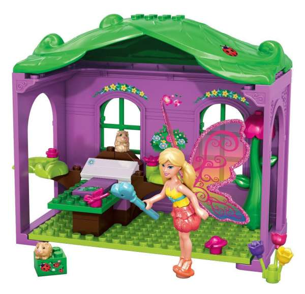 Mega Bloks 80167 - Barbie Märchen Party, Barbie Figur mit abnehmbaren Flügeln