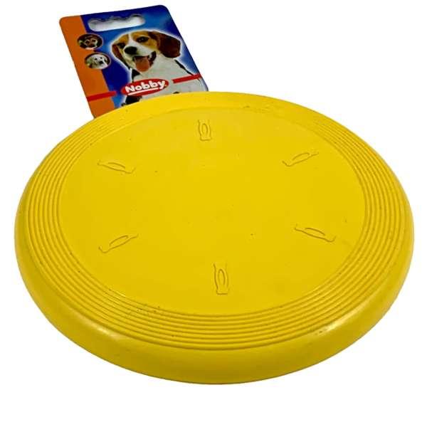 Nobby Frisbee aus Gummi für den Hund Hundespielzeug Gelb