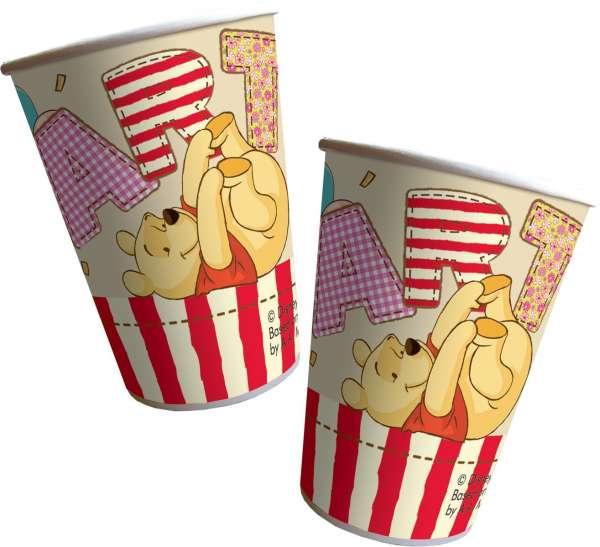 8 Trinkbecher Winnie the Pooh für eine tolle Kinderparty