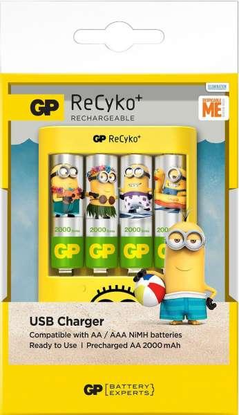 Minion Ladegerät USB GP Batteries Batterieladegerät für AA & AAA