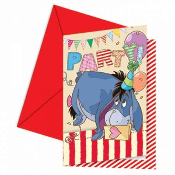 6 Einladungskarten Winnie the Pooh für eine tolle Kinderparty