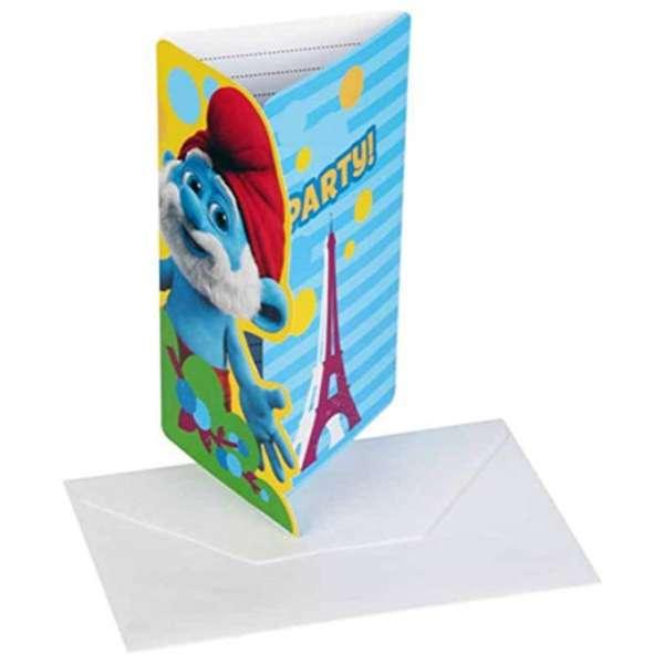 6 Einladungskarten Die Schlümpfe 2 für eine tolle Kinderparty