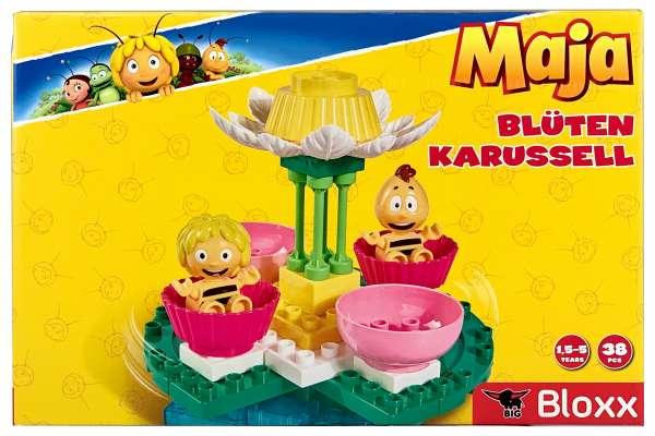 BIG 800057129-BIG-Bloxx Biene Maja Blütenkarussell Bausteine-Set ab 18 Monaten