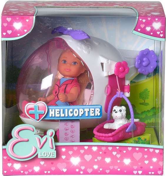 Evi Love Puppe mit Hubschrauber und Hund