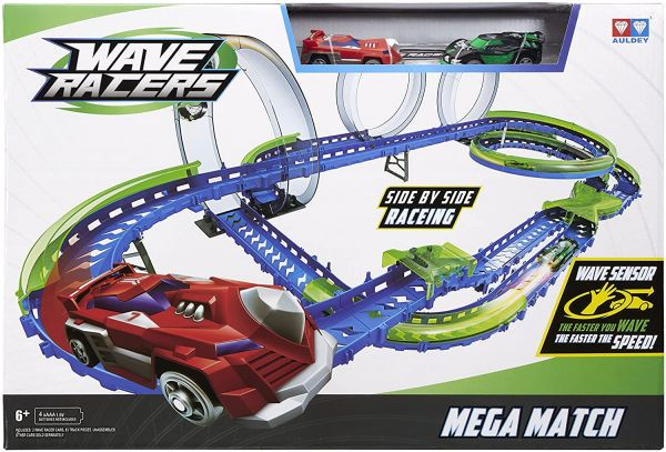 Wave Racers Mega Match tolle Auto Rennbahn mit Loopings inkl. 2 Autos