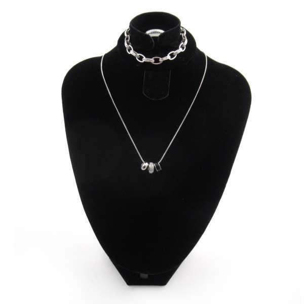 3er Set von Liora Halskette, Armband, 3 Ringe mit Swarovski Elementen