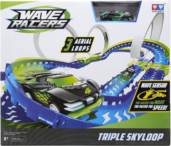 Wave Racers Triple Skyloop Raceway Track Set tolle Auto Rennbahn mit 3 Loopings