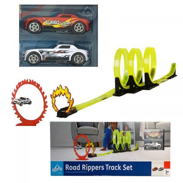 Looping Rennbahn Road Rippers Track Set mit Feuerreif und 2 Autos