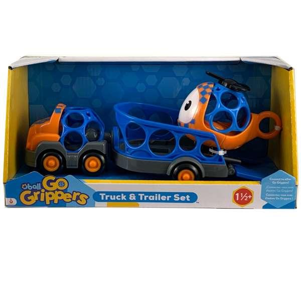 Oball Go Grippers Truck mit Anhänger und Hubschrauber, Helikopter