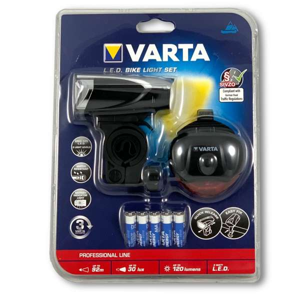 LED Fahrradleuchten Set von Varta inkl. 5x AAA Batterien Fahrradbeleuchtung
