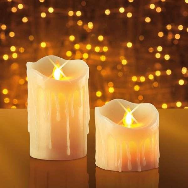 2er Set JML LED Echtwachskerzen - Kerzen flackern im Luftzug