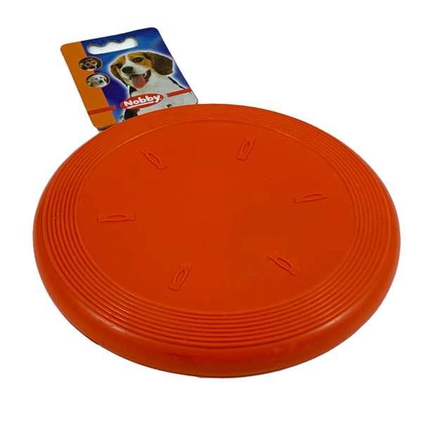Nobby Frisbee aus Gummi für den Hund Hundespielzeug Orange