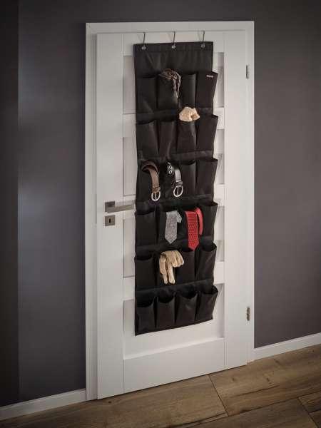 Leifheit Organizer schwarz, Hängeregal Aufbewahrung 24 Taschen 46 x 5 x 162cm
