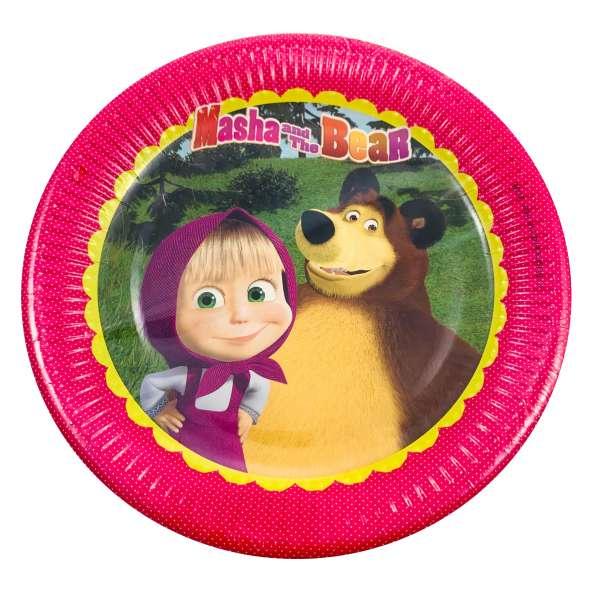 8 große Pappteller Masha und der Bär für eine tolle Kinderparty